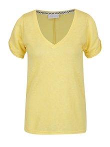 Žlté voľné tričko s prestrihmi na ramenách VILA Uran