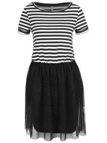Krémovo-černé pruhované šaty s tylovou sukní ONLY Anne