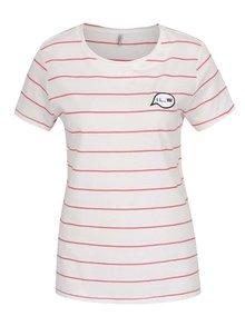 Růžovo-krémové pruhované tričko ONLY Sara