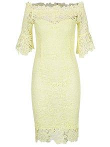 Žlté čipkové šaty s lodičkovým výstrihom Little Mistress