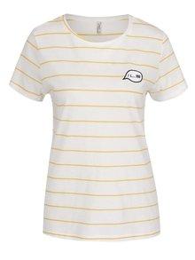 Žluto-krémové pruhované tričko ONLY Sara