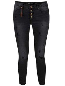 Šedé zkrácené skinny džíny s potrhaným efektem ONLY Carmen