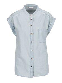 Svetlomodrá rifľová košeľa bez goliera VILA Amaze