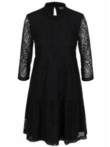 Rochie neagră VILA Mola din dantelă cu croi lejer
