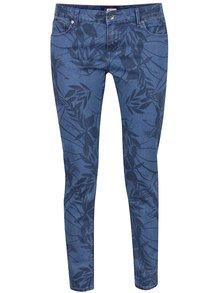 Modré skinny džíny s květovaným potiskem Roxy Sun