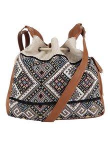 Hnědo-krémová vzorovaná crossbody kabelka s hnědými detaily Roxy Yucatan