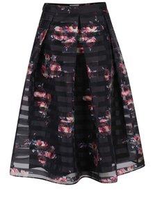 Černá šifonová květovaná midi sukně Apricot