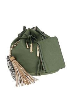 Zelená koženková crossbody kabelka Nalí
