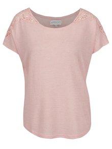 Růžový žíhaný volný top s krajkovými detaily na ramenou Apricot