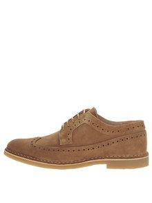 Pantofi Brogue maro Selected Homme Royce din piele întoarsă