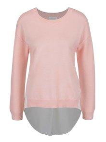 Světle růžový svetr s všitou halenkou Apricot