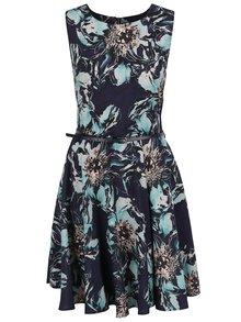 Zeleno-modré květované šaty s páskem a kolovou sukní Apricot