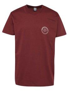 Vínové pánske tričko s potlačou na chrbte Horsefeathers