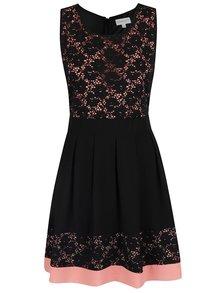 Růžovo-černé šaty s krajkovými detaily Apricot