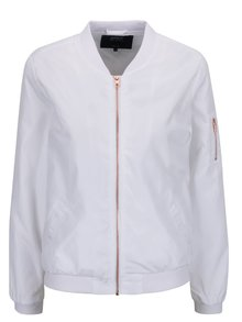Jacheta bomber subțire albă ONLY cu terminații elastice