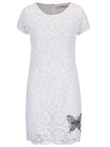 Biele čipkované šaty s nášivkou Desigual Cadaqués