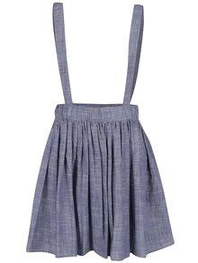 Modrá skládaná sukně s elastickou gumou v pase Skunkfunk
