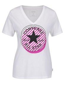 Biele dámske tričko s potlačou Converse Off Center