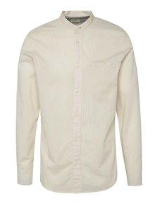 Krémová pruhovaná košeľa bez goliera Selected Homme One Morton