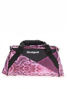 Čierno-ružová športová taška s hadím vzorom Desigual Sport Bols