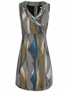 Béžové vzorované šaty s prekladaným výstrihom Skunkfunk