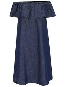 Tmavě modré džínové šaty s odhalenými rameny VERO MODA Emilia