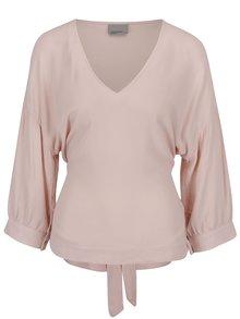 Bluză roz pal VERO MODA Michelle cu cordon la spate