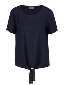 Tricou albastru închis VERO MODA Fay cu nod decorativ