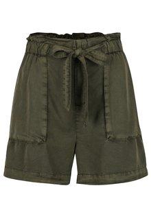 Pantaloni scurți verde închis VERO MODA Zoe cu cordon
