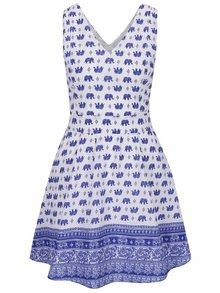 Modro-bílé šaty s motivem slonů Mela London