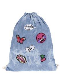 Rucsac albastru melanj Haily's Bag Patch din bumbac cu aplicații