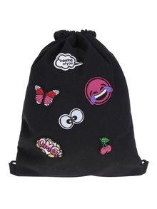 Rucsac negru Haily's Bag Patch din bumbac cu aplicații