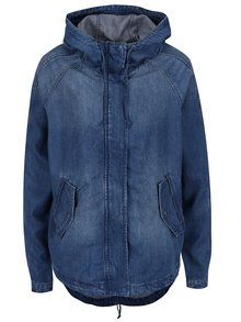 Modrá rifľová bunda s kapucňou ONLY Martina