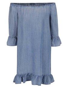 Světle modré volné džínové šaty s odhalenými rameny ONLY Seco