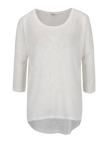 Krémové voľné tričko s 3/4 rukávom ONLY Camilla