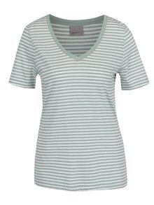 Krémovo-zelené pruhované tričko VERO MODA Marley