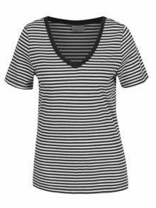 Krémovo-černé pruhované tričko VERO MODA Marley