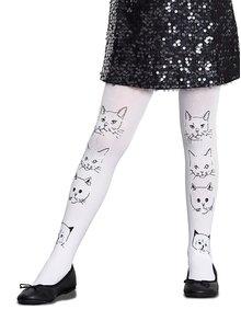 Bílé holčičí punčocháče s motivem koček měnící barvu na slunci Penti Enjoy 50 DEN