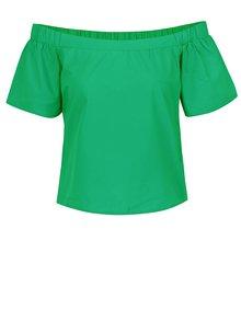 Zelená blúzka s odhalenými ramenami ONLY Pop-Popeline