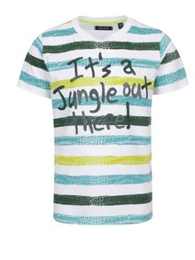 Zeleno-biele pruhované chlapčenské tričko s potlačou Blue Seven