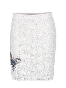 Biela čipkovaná sukňa s nášivkou Desigual Cullera