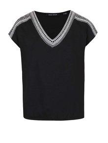 Čierne dievčenské tričko s výšivkou v krémovej farbe Blue Seven
