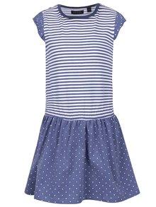 Rochie albastră cu dungi si cu buline Blue Seven pentru fete