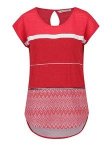 Tricou roșu Desigual Mire cu inserție dantelă