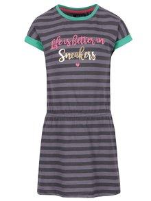Sivo-čierne dievčenské pruhované šaty s potlačou Blue Seven