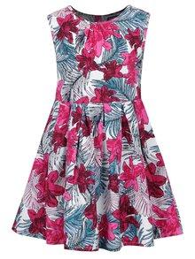 Ružovo-biele kvetované dievčenské šaty bez rukávov Blue Seven