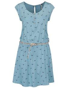 Modré vzorované šaty s opaskom Ragwear Zephie