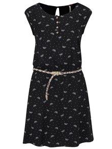 Černé vzorované šaty s  páskem Ragwear Zephie