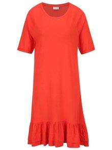 Červené voľné šaty s volánom a dlhším rukávom VILA Marisa