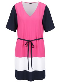 Rochie roz & bleumarin Nautica cu mâneci medii